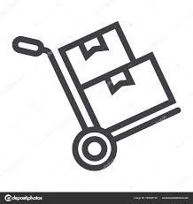 Hand Truck With Cardboard Boxes Line Icon, Logistic And Delivery ...