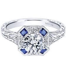 Gabriel Amavida Margaret Cushion Halo Vintage Style Blue Sapphire Diamond Engagement Ring