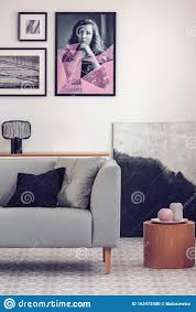 komfortables graues sofa mit kissen im eleganten wohnzimmer