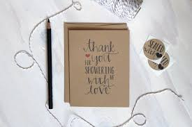 5 Rustic Kraft Shower Thank You Cards Baby