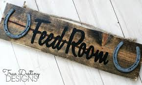 Feed Room Barn Sign Stable Font B Rustic Horseshoe