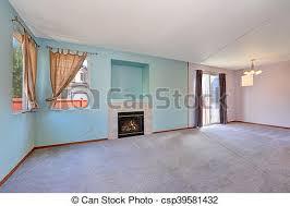 leeres wohnzimmer mit blauen pastellfarbenwänden leeres