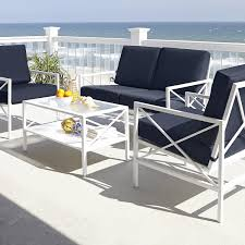 Ty Pennington Patio Furniture Parkside by Garden Oasis 4 Piece Freeman Seating Set Navy White Limited