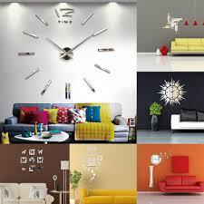 40cm Modern 3d Frameless Wall Clock Style Watches Hours Diy