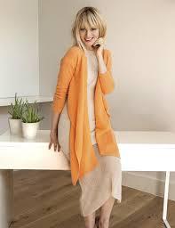 SEMON Cashmere Light Weight Drape Cardigan In Orange
