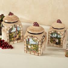 Tuscan View Wine Grapes Kitchen Canister Sets Made Of Ceramic For Accessories Ideas