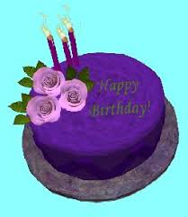 Happy Birthday Purple Cake with Pink Roses