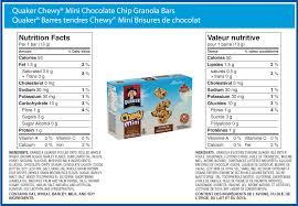 Quaker ChewyR Mini Chocolate Chip Made In A Peanut Free Facility
