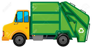 Rubbish Truck With Green Container Illustration Royalty Free ...