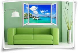 3d fenster wanbild wandtattoo aufkleber wohnzimmer meer wasser boot palmen deko