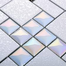 wholesale porcelain mosaic floor tile grey square iridescent tile