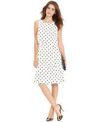 lauren by ralph lauren sleeveless polka dot dress in white lyst