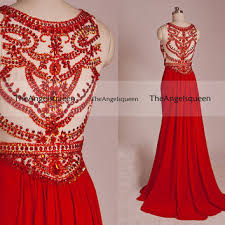 Luxury Vintage Sparkling Red Round Neck All Beads See Through Long Prom Evening Gowns