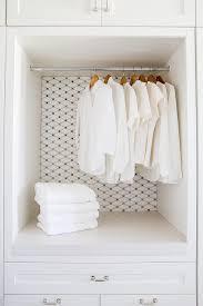 laundry room with white carrara grey dot marble mosaic