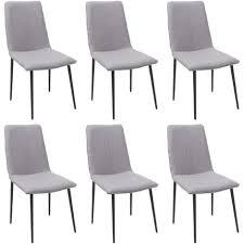 6x esszimmerstuhl hhg 735 stuhl küchenstuhl vintage stoff textil grau