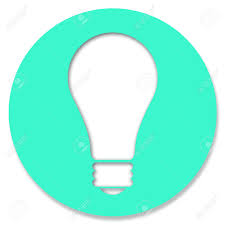 light bulb icon in rurquoise brilliant circle stock photo picture
