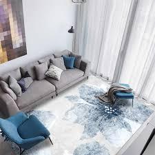 neue chinesische stil blau blumen grau weiß teppich wohnzimmer moderne abstrakte farbe verblassen blume teppich matte für zimmer