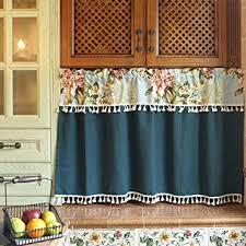 qucover blickdichte scheibengardine landhausstil kurzgardine für küche badezimmer tür fenster breite 130cm x höhe 72cm aus baumwolle leinen blumen