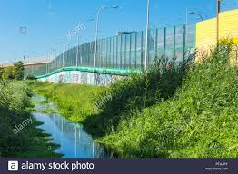 100 Poland Glass Soundabsorbing Screens Along The Highway And The Creek