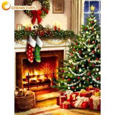 chenistory weihnachten baum landschaft malen nach zahlen kits einzigartiges geschenk für erwachsene kinder hause wohnzimmer wand dekor kunst foto