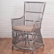 Anita Rattan Arm Chair, Grey Wash With Cushion