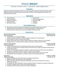 Assistant Manager Resume Example