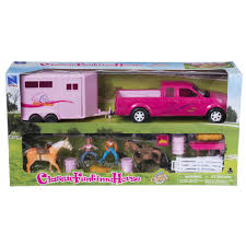 100 Pink Truck Tough1 Childrens Western Horse Toy And Small Trailer