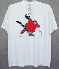 rare bowling kliban alley cat crazy shirts hawaii vintage t shirt