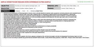 Sample Resume For Order Picker