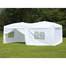 10 x 20 Palm Springs Pop Up WHITE Canopy Gazebo Party Tent with 6
