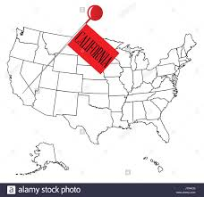 An Outline Map Of USA With A Knob Pin In The State California