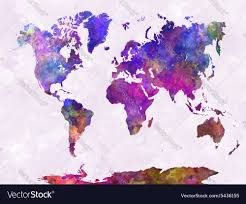 World Map In Watercolor Warm Purple Royalty Free Vector