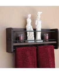 Bathroom Shelf Rustic Towel Rack Metal Bar Organizer Decor Wall Storage