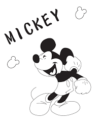 Cheerful Cartoon Mickey Mouse Coloring Page