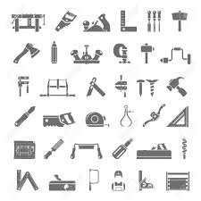 Black Icons Traditional Woodworking Tools Stock Vector