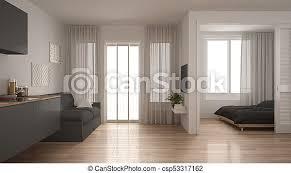 kleines apartment mit küche wohnzimmer und schlafzimmer