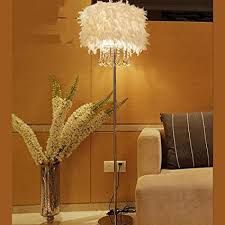 Feather Floor Lamp K9 Crystal Home Lighting Living Room Dining Bedroom Stand Light White