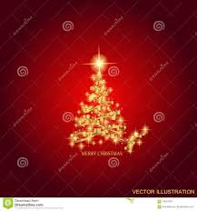 Download Abstract Background With Gold Christmas Tree And Stars Illustration In Red Colors