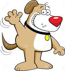 Cartoon illustration of a dog waving Stock Vector