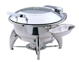 Large Round Chafing Dish With Glass Lid And Base