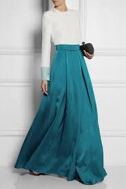 roksanda alia pleated duchesse satin maxi skirt in blue lyst