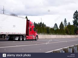 Big Rig Modern Red Semi Truck Tractor With Refrigerator Semi Trailer ...