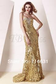 selling free shipping gold sequins long evening prom dress in