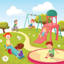 Cute Children At Playground Happy Playing In Summer Park Vector Background Art Illustration