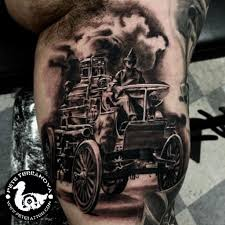 Black And Gray Saint Florian Fire Truck Tattoo | Custom Tattoos ...