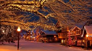 Christmas holiday lights in the Bavarian style village of