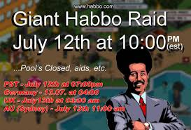 Invitation To The Giant Habbo Hotel Raid With Man Afro On Graphic