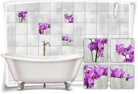 fliesen aufkleber fliesen bild orchideen blume pink wellness
