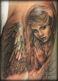 Awesome Attractive Praying Angel Tattoo