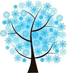 Beautiful winter tree with bluesnowflakes on a white background Stock Vector